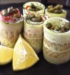 gluten free, paleo, dairy free option: cucumber salmon rolls